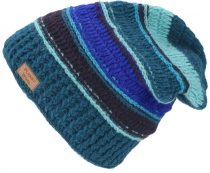 Woolly hat, Patchwork knit hat with stripe pattern - blue