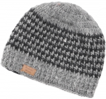 Wool cap, Nepal cap with stripe pattern - grey