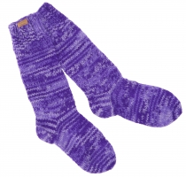 Handknitted sheep wool socks, house socks, Nepal socks - purple