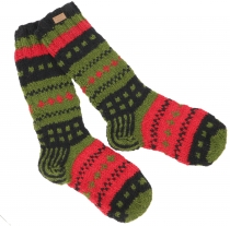 Handknitted sheep wool socks, Nepal socks - green