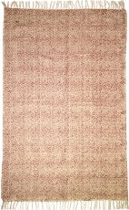 Hand-woven block print carpet in natural cotton with traditional ..