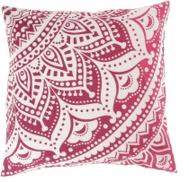 Mandala cushion cover, printed Boho cushion cover - pink