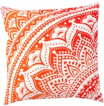 Mandala cushion cover, printed Boho cushion cover - orange
