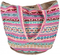 Handmade Boho Shopper carrier bag, beach bag, shopping bag - pink