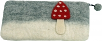 felt wallet fly agaric, cosmetic bag, pencil bag