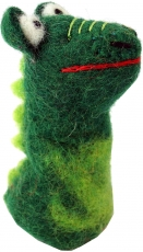 Handmade felt finger puppet - dragon/green