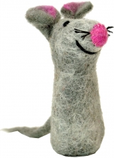 Handmade finger puppet made of felt - mouse