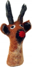 Handmade finger puppet made of felt - reindeer