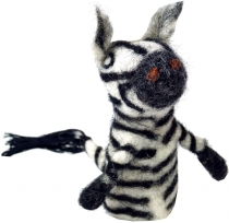 Handmade finger puppet made of felt - Zebra