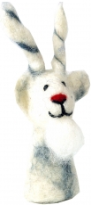 Handmade finger puppet made of felt - goat/white