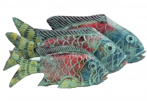 Carved fish, decorative object fish in 3 sizes - colorful