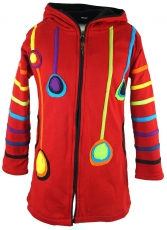 Goa children`s jacket with pointed hood, elfin jacket - red