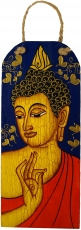 Handpainted Buddha mural on wood - blue