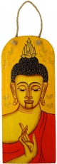 Handpainted Buddha mural on wood - yellow