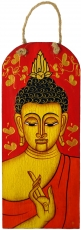 Handpainted Buddha mural on wood - red