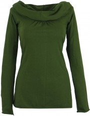 Hoody Boho chic, long sleeve shirt with shawl collar - olive