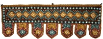 Indian wall hanging, Oriental pennant with sequins, Toran - black