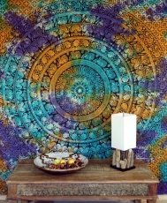 Indian mandala cloth, batik wall cloth bedspread mandala print - ..