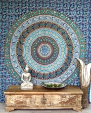Boho style wall hanging, Indian bedspread Mandala print- blue/gre..