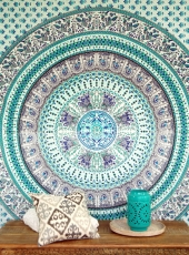 Indian Mandala cloth, wall cloth, bedspread Mandala print - green..