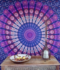 Indian Mandala cloth, wall cloth, bedspread Mandala print - purpl..