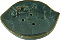 Ceramic soap dish Lotus leaf with gecko
