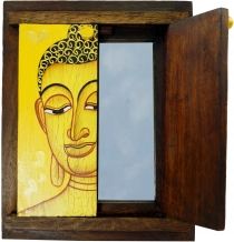 Small standing mirror, make-up mirror with Buddha motif and hinge..