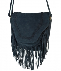 Boho leather bag, shoulder bag, hippie chic fringes bag - blue