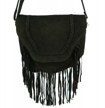 Boho leather bag, shoulder bag, hippie chic fringes bag - brown