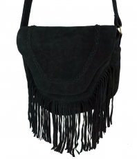 Boho leather bag, shoulder bag, hippie chic fringes bag - black