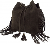 Boho leather bag, leather shopper - dark brown