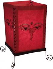 Lokta paper table lamp, square table lamp - Buddhas eye red