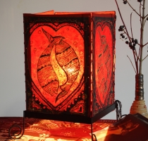 Lokta paper table lamp, square table lamp - lucky fish red
