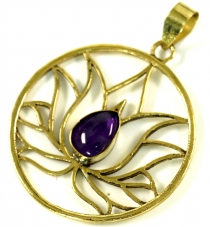 Lotus brass chain pendant with amethyst