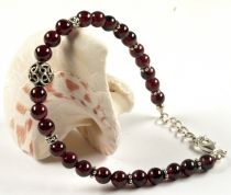 Mala bracelet and necklace with real silver beads - garnet