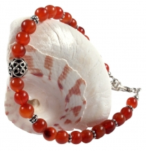 Mala bracelet and necklace with real silver beads - Carnelian