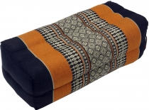 Meditation cushion, Thai neckrest square with kapok - black/orang..