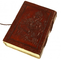 Notebook, leather book, diary with leather cover - Ganesh 9*12 cm