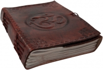 Notebook, leather book, diary with leather cover - Om 12*15 cm