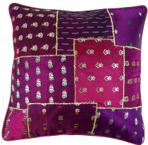 Oriental cushion cover, pillowcase Saree Patchwork - purple