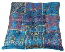 Oriental brocade quilt cushion, chair cushion 40*40 cm - blue