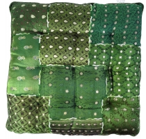 Oriental brocade quilt cushion, chair cushion 40*40 cm - green