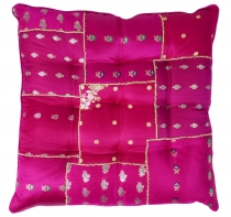 Oriental brocade quilted cushion, chair cushion 40*40 cm - pink