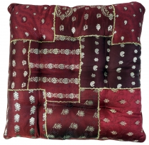 Oriental brocade quilt cushion, chair cushion 40*40 cm - dark red