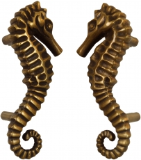 Pair of solid door handles brass seahorse