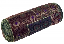 Patchwork neck roll, sofa cushion 50 cm - brown