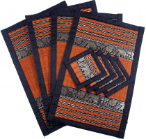 Placemat Bast Coaster Table Mat 4èr Set - orange
