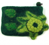 Wallet made of felt, felt wallet flower - green