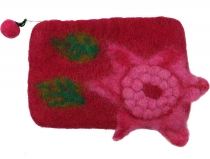 Wallet made of felt, felt wallet flower - pink