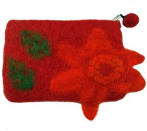Wallet made of felt, felt wallet flower - red